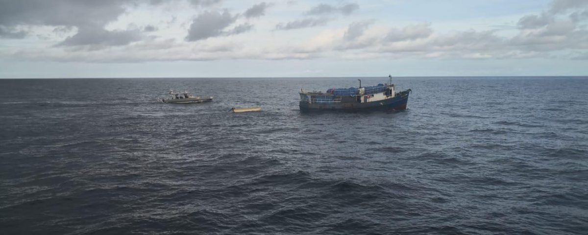 El bote Santa Filomena, de Panamá a Colombia con cigarrillos chinos en agosto de 2020.   Crédito: DIAN