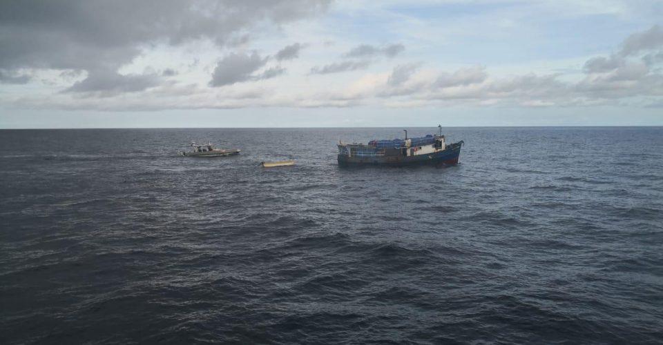 El bote Santa Filomena, de Panamá a Colombia con cigarrillos chinos en agosto de 2020. | Crédito: DIAN